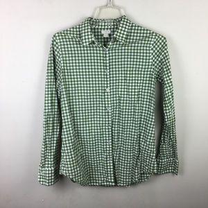 J. Crew green gingham classic button down shirt